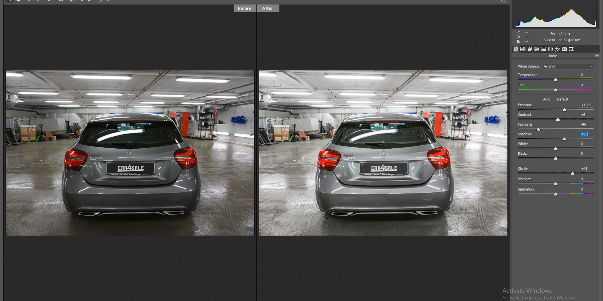 Car image editing color correction sample